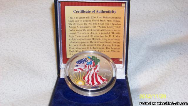 2000 UNCIRCULATED MILLENNIUM COMMEMORATIVE AMERICAN SILVER EAGLE DOLLAR IN FULL COLOR - STUNNING!!! - Price: $ 200.00