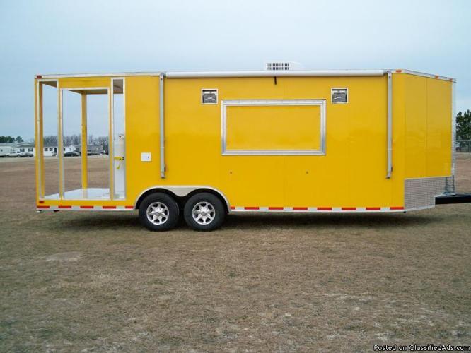 2012 8.5X24 Yellow V-Nose BBQ Concession Trailer - Price: $26,500