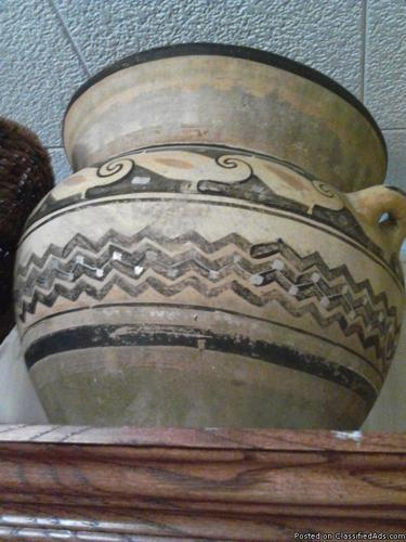 american hand made pottery clay bowl geomectric design black paint sand colors