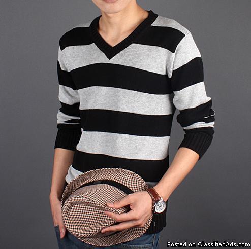 Fashion Men's Sweater-Blk & Gray Stripped - Price: Sale Price $24.99