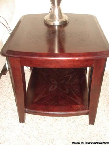 LIVING ROOM RICH DARK WOOD END TABLES - Price: $75.00