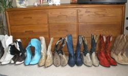10 Pairs of vintage exotic skin cowboy/western boots. All mens size 11 All boots are in good to very good condtion!!! Any questions or more photos please Email me Thanks Scott 1 Tan Ostrich skin by Larry Mahan ...................................$120.00 2