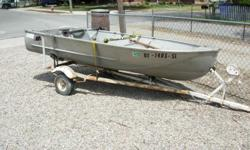 Richline 12' Aluminum boat with trailer, oars anchor and 2 life vests.