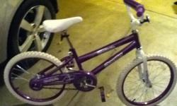 "16"" Purple girl bike.  Only rode 3 times. Everything is still new on the bike.  A wonderful savings for the Christmas holidays."