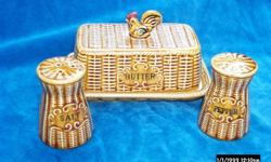 1950's table ware in basket weave pattern,with a rooster on top. have (1)set / contains a butter dish with salt and pepper. (1) set /Coffee pot with cream and sugar (1) set / Jam and Jelly set with lids. I will take $20.00 for all three sets or $25.00 for