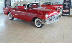 1955 Buick Super 2dr Convertible 8-cyl. 322cid/236hp 4bbl. Red with red vinyl interior and white convertible top. Fresh restoration. Starts and drives good. Very rare '55 Buick