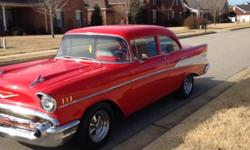 1957 chevy 210 belair,Has been off frame ,Everything on this car is new or new rebuilt,from bumper to bumper,Has new 350 crate engine,700 R overdrive auto trans ,power steering , power brakes dics on front ,drum on rear,Vinage heat and air,All chrome is