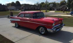 Belair1957 chevy 210 belair,Has been off frame ,Everything on this car is new or new rebuilt,from bumper to bumper,Has new 350 crate engine,700 R overdrive auto trans ,power steering , power brakes dics on front ,drum on rear,Vinage heat and air,All