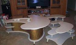 1960's KIDNEY SHAPED COFFEE BAR TABLE WITH MATCHING END TABLES. EXCELLENT CONDITION. Whitewash Maple Formica on COFFEE BAR TABLE, door has original key. It is very rare to find a matching set and in excellent condition. Located by ORLANDO INTERNATIONAL