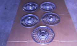 """For Sale 5 Wire Wheel Hub Caps for 14"""" rims. 1963 Mercury style"""