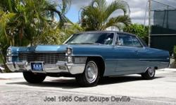1965 Cadillac DeVille,2 dr coupe, 429 cubic inch engine, Auto Transmission, PS, Tilt wheel & telescopic, PW. Exterior: Peacock Firemist paint, Original color with Black vinyl top like new, outside mirror like new, front & rear bumpers like new, grill like