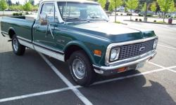 Restored in (2005) New 350 Goodwrench crate motor.New carb,intake,hei distributor,interior,New paint,tires,grill,all molding,4 core radiator,bumpers,glass,flowmaster exhaust,Too much to list!! This truck has factory disc brakes,Rebuilt auto