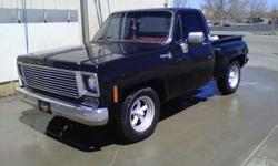 """Black with red int. 350 ci motor power steering standard brakes BED in good condition Body in very Good 4 speed Super T10 manual Transmission with hurst shifter 16"""" mags Tinted windows 180 watt stereo with speakers Turbo mufflers Great Show Truck - needs"""