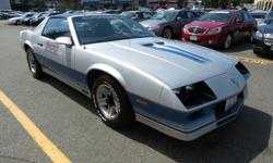 You are looking at one of the cleanest '82 Z-28 Indy Pace Camaros anywhere. This car is a 2 owner from Pullman, Washington (dry desert) has been re-finished in the original 2-tone Silver & Blue Base/Clear paint. Beautiful interior in original color. Ice