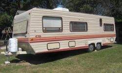 THIS 28 FT CAMPER HAS NEW AIR UNIT NEW TIRES AND NEW POWER ANTENNA ALSO MICOWAVE STOVE REF WILL LEAVE HOSES FOR WATER AND SEWAGE. RADIO FRON AND REAR SPEAKERS AND MANY EXTRAS.