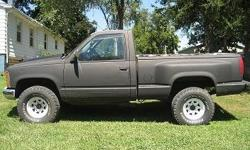 1990 Chevrolet step side pickup 4x4. runs great. manual. It will need a new power steering pump at some time but works fine for now. front end has been completely redone drives strait but has a little play in steering. Might be the pump as everything else