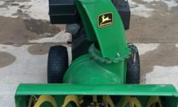 CHUTE CONTROLS ON HANDLE WITH 24IN PATH. RUNS AND BLOWS SNOW GREAT. PAID 600.OO LAST YEAR AND I WAS GIVEN A NEW ONE FOR CHRISTMAS. ELECTRIC START 2 STAGE 10HP PLEASE CALL NO E-MAIL - - APPLETON