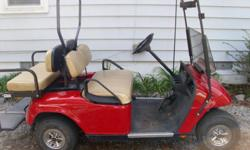 This cart is in great shape, brite red, ss wheels,fold downback seat, lights front & rear and curbe light on side, fold down windsheald