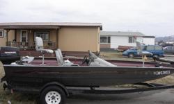 19' G3 bass boat 75 hp outboard. Motor Guide trolling motor 85 lb. thrust. Runs great.
