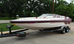 Boat is in Excellent shape and shows no signs of damage. It only has 230 hrs on it. Everything is all original and the only thing that has been added is the 2500.00 kicker stereo. 8 speakers with subwoofers. Boat has duel batteries with switch. It