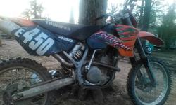 2002 KTM 520 with big bore kit, new timing chain,cam shaft,cam shaft gear, water pump, Dunlop tires, fully rebuilt top and bottom end less than 3 hours ride time This bike is Race Ready! Not for beginners. Asking 2500$firm or trade for honda or Yamaha