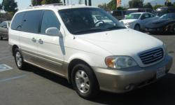 **2003 KIA SEDONA WHITE STOCK#540967** *ASKING PRICE $6,988 PLUS TAX AND DOC FEES * VERY NICE FAMILY SUV, GREAT FOR KIDS !!!! CALL TODAY FOR MORE INF, @(909)984-8000 WE ARE OPEN 7-DAY'S A WEEK .... DC MOTOR SPORTS INC, 958 E. HOLT BLVD ONTARIO CA, 91761