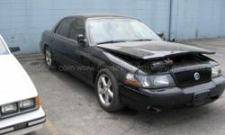 2004 Mercury Marauder Sedan SEDAN 4-DR, 4.6L V8 DOHC 32V. This vehicle starts, runs, and is operable. The vehicle is equipped with a rear air suspension that is not functioning. The interior is black leather and in good condition. Options include AC,