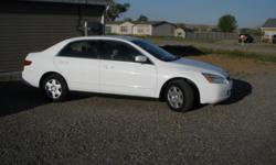 2005 Honda Accord, white w tan interior, 4 door, 4 cyl, bought brand new one owner, 121,000miles, very clean and tires are less than a year old.