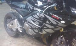 well it is a 2005 cbr 600rr it was red i change the firing to black it is a nice bike just had a baby and will not have time to ride it has flush mount turn signallight and tell light has the turn signal in it and a kr turnd pipe if u would like pic u can