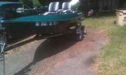 14 Foot Water Moccasin Fishing boat.  Color is green metal flake and black.  Comes with 20 HP Honda 4 stroke motor, trolling motoe, power tilt/trim, depth finder, and live well. Used less than 10 times.  Perfect condition.