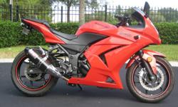 This is a 2009 Ninja 250 in excellent condition always garage kept. Female ridden to learn to ride and now she is wanting a bigger bike. This bike has had its 600 mile service at the dealer and only has 1065miles on it. I assure you it was babied. The
