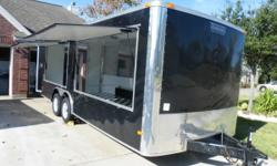 2010 BRAND NEW CONCESSION TRAILER FOR SALE, SIZE 20' x 8.5', NEVER BEEN USED, TANDEM AXELS, 7000 LBS (3175 kg), FINISHED INTERIOR, INSULATED ROOF & WALLS, 13000 BTU A/C, TWO CONCESSION WINDOWS 8' x 4' EACH, ALUMINUM COVERED BACK WALL, 100 AMP ELECTRICAL