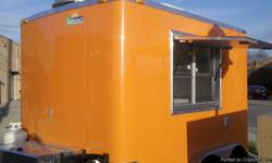 8.5X10 Concession Trailer Loaded!! Brand New!  8 1/2ft Width x 10ft Length Enclosed Trailer Orange Aluminum Exterior 7 ½ Feet of Interior Height (1) 4' Concession Door with Latches, Gas Shocks, and Safety Supports Serving Window with Slider and