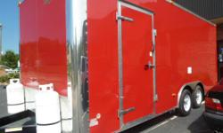 8 ?ft Width x 20ft Length Red Aluminum Exterior 5' Concession Door with Latches, Gas Shocks, and Safety Supports 12? Interior Height. removable fold up countertop Additional Roof Support for Exhaust Hood NSF Approved 3 Bay Sink with Faucet, 30 GAl. Fresh