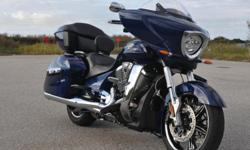 The Victory Cross Country is Solid Imperial Blue Metallic it has 4470 miles on it. The maintenance has been taken care of very meticulously, oil was changed 500 miles ago the tires are in great shape 75%-80% tread left. Trunk - 1800