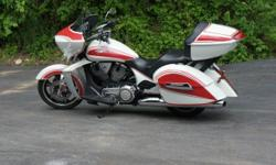 2011 Victory Cross Country 106 Motor and 6 Speed Transmission The Stage 1 Upgrade Gives a Nicer Sound Than Stock Nice Matching Front and Rear Wheels with Tires with Plenty of Tread Pearl White with Candy Red Stripes -Looks Sharp Full Stereo System with