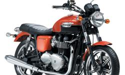 This orange and black 2012 Triumph Bonneville has its full two-year warranty with unlimited mileage still open. It's a great ride and good deal for any rider.