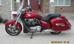 2012 VICTORY CROSS ROADS MOTORCYCLE It has never been ridden by me or anyone else since I purchased it. It has only 10 actual miles. This motorcycle is in absolutely showroom condition, not a scratch or flaw on it! It has an