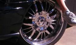 """Stamped Di'Vinci Chrome 20"""" Rims with 75% Tire left . came off from 04' Jaguar"""