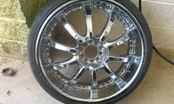 """I have a set of 22"""" chrome rims/w tires. The tires have atleast 90% of tread on them. Im asking $900 but will nego.. with someone that is serious and looking to purchase them. Sorry i dont have the center caps.. but priced online at $20 apiece.. SERIOUS"""