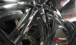 """These are nice chrome 24"""" rims with tires. They're a universal 6 lug and will fit suburban, tahoe, expedition, navigator, f-150, escalade, infiniti, nissan armada, yukon, 1500 chevy, lexus, and many more 6lug trucks. We sell wheels, tires, car audio,"""