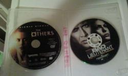 "I have 2 DVD's up for sale. ""The Others"" by Nicole Kidman ""Bad Lieutenant"" By Nicolas Cage   Disc ONLY, they do not come with cases   I am asking 10.00 each or 15.00 for both. thanks!"