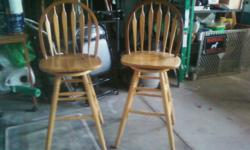 2 SWIVEL WOOD BARSTOOLS. EXCELLANT CONDITION. SEAT HEIGHT FROM FLOOR 29 INCHES. VERY STURDY. CALL 859-259-1008
