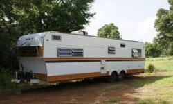 Deer lease trailer, needs water damage repaired. No title AC, stove and 12volt lighting system works. The rear room needs ceiling and floor repair, the kitchen needs floor repair. Call or text