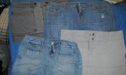 """All american eagle, all nicely taken care of, no stains, no rips, no tears nothing! Comes from smoke free home! One jean, back pockets and front pockets One Jean- blackish-gray-awesome, zips up the side One jean, with frayed end One """"khaki"""" feeling skirt,"""