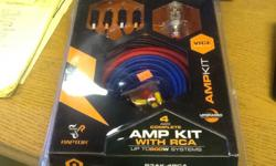 Sheps Wholesale has 4 awg Complete amp kit with rca up to 600w systems with copper clad aluminum, Vice Series. Made by Raptor brand new in the package for $49.95. Shep's Wholesale 5420 Doolittle Road Jacksonville, FL 32254 Mon-Fri 8-5 904-854-6637 Erin