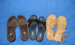 I have 4 pair of sandles for sale!!! ALl nicely taken care of, no scuffs, no problems! 3 of them were not even worn before!! The other-lightly worn. No issues--all in great condition!! One pair is SM Light tan One pair is Steve Madden Black One Pair is