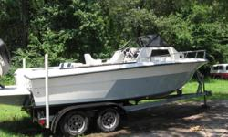 89 Angler 22ft with 2003 Suzuki 225 Four Stroke 300hrs. Duel axle Continental trailer. Has diving platform, new trim tabs,cubby with portapottie, sleeps two, plenty of storage,bait tank,fish storage on deck.Ship to shore radio, removable passenger