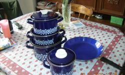 8 piece Europaen Enamel Cook Ware with a 12 inch Frying Pan see photo !