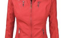 A beautiful jacket, medium size ,color coral Description: very soft and good looking jacket 100% POLYURETHANE(shell) 100% POLYESTER(lining) A faux leather motocycle jacket with pockets on front Zipper opening / Quilted stitching details on front and back